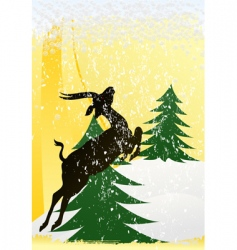 Christmas deer poster vector image vector image