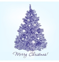 christmas tree with balls hand drawn vector image
