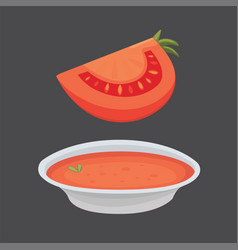 collection of fresh red tomatoes and soup vector image vector image