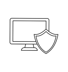 computer shield server banner icon vector image