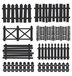Country wooden fences palisade silhouettes vector