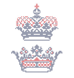 Cross-stitch embroidery crowns vector