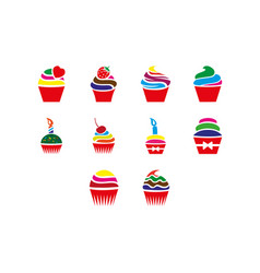 cupcakes icon set vector image vector image