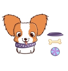 Cute cartoon papillon puppy vector