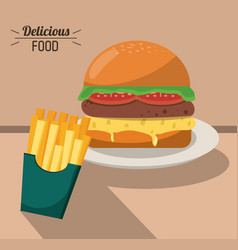 Delicious food fast burger and french fries vector