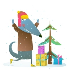 Dog or wolf celebrating winter holidays vector