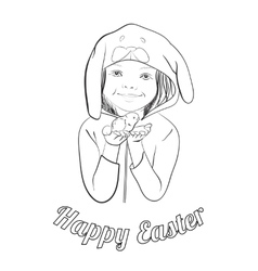 Easter greeting outline card for coloring vector image
