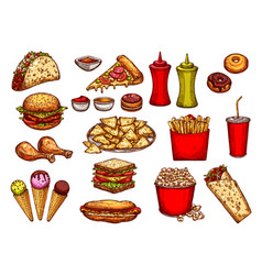 Fast food burger drink and dessert sketch set vector