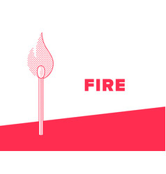 Flaming match banner stick with fire dotted style vector
