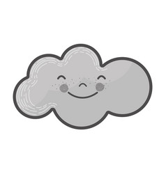 grayscale kawaii happy cloud icon vector image