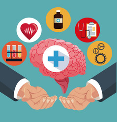 Hand with human brain healthcare items vector