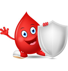happy blood cartoon with shield vector image