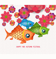 Happy mid autumn festival blooming flower and vector