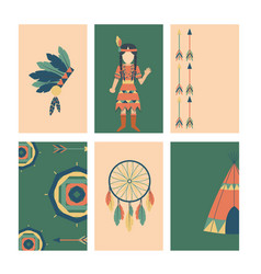 Indians icon temple ornament cards element retro vector
