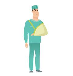 Injured doctor with broken arm vector