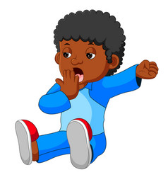 Kid yawning and stretching vector