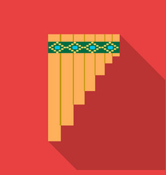 Mexican pan flute icon in flat style isolated on vector