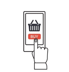 Mobile shopping button flat design vector image vector image