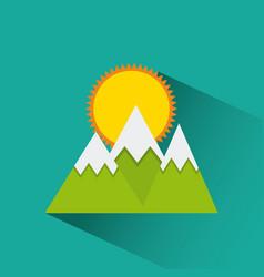 Mountains and sun icon vector