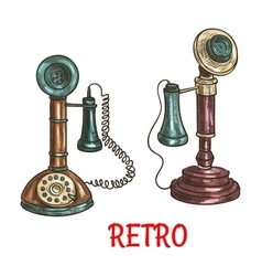 Old vintage retro phones color sketch vector