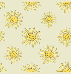 Pattern with happy sun vector
