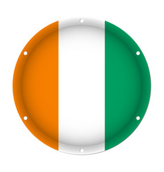 Round metallic flag of ivory coast screw holes vector