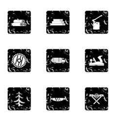 Sawing woods icons set grunge style vector