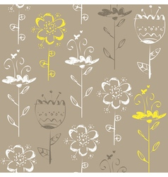 Seamless pattern with light sketch flowers on grey vector image vector image