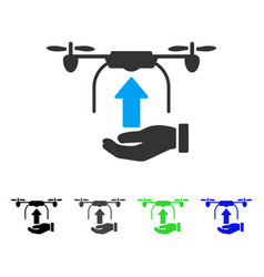 Send drone hand flat icon vector