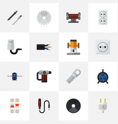 Set of 16 editable electric flat icons includes vector