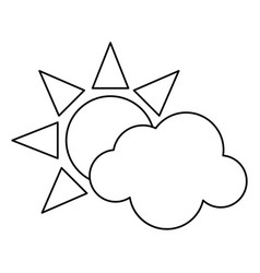 sun cloud weather symbol thin line vector image