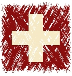 Swiss grunge flag vector image vector image