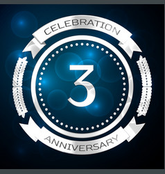 Three years anniversary celebration with silver vector