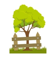 Tree plant with fence vector