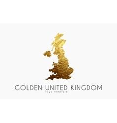 United Kingdom map Golden United Kingdom logo vector image