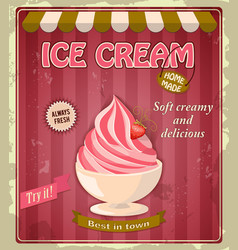 vintage banner with strawberry ice cream vector image vector image