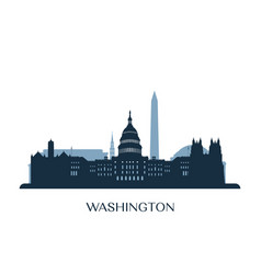 Washington skyline monochrome silhouette vector