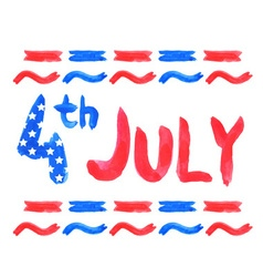 Watercolor text 4th july vector
