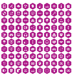 100 programmer icons hexagon violet vector image