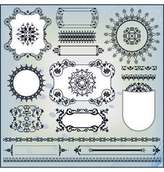 ornamental pattern on blue background vector image