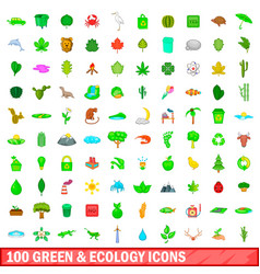 100 green and ecology icons set cartoon style vector