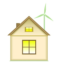 Home wind turbine renewable energy concept vector