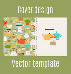 cover design with teapots pattern vector image