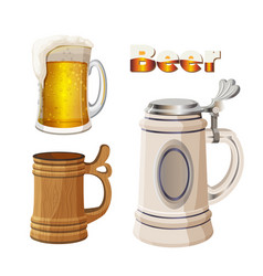 Glass beer cup with foam ancient bavarian and vector