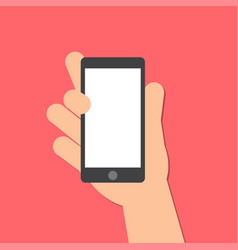 Hand holds a smart phone in the vertical position vector