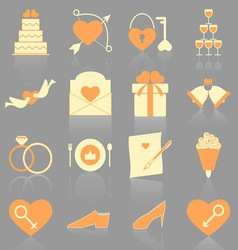 Wedding color icons with reflect vector