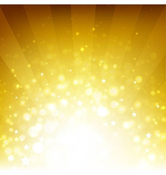 Golden background with sunburst and stars vector
