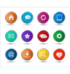 Set of colored navigation web icons on white vector image