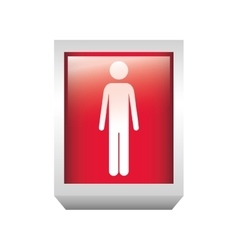 3d rectangle button with person silhouette vector