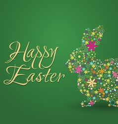 Happy easter green background with rabbit flowers vector